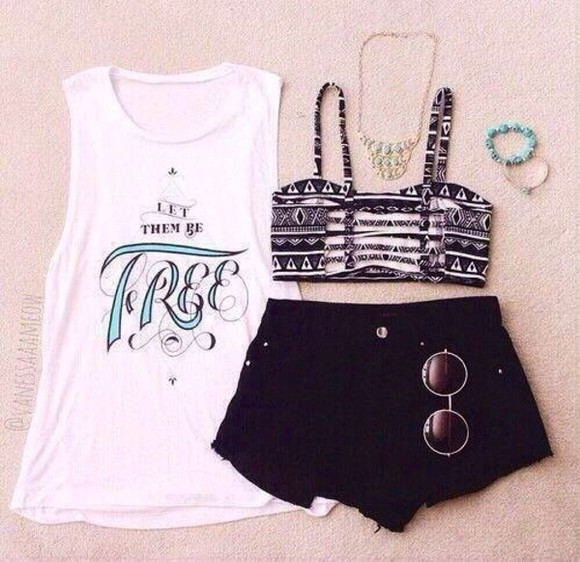 shirt split back white crop tops tribal pattern black shorts sunglasses tank top shorts black crop too