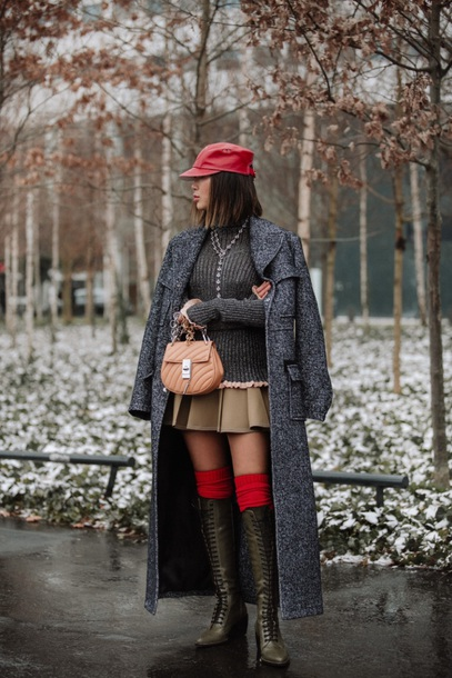 shoes boots coat grey coat long coat hat red hat sweater grey sweater skirt mini skirt lace up socks over the knee