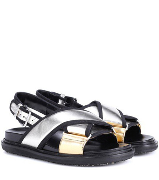 MARNI metallic sandals leather sandals leather shoes