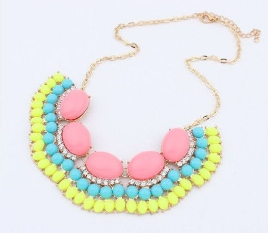 Pink & Yellow Statement Necklace - DIR Fashion