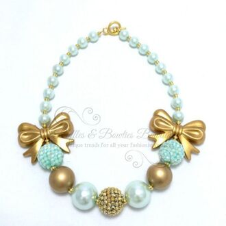 jewels gold bow beaded clasp bracelets light blue green