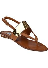 Steve Madden Cufff Flat Sandal Cognac Leather - Jildor Shoes, Since 1949
