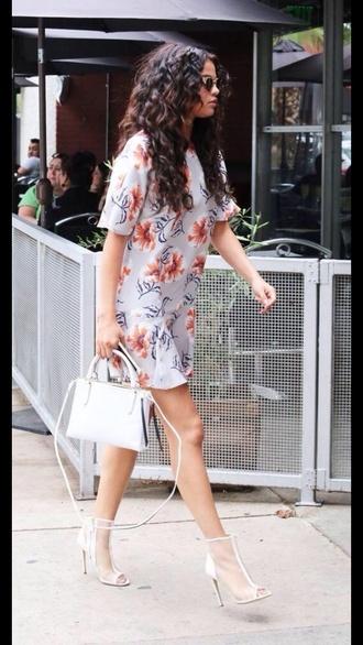 shoes white heels dress short dress t-shirt dress selena gomez curly hair peep toe boots peep toe