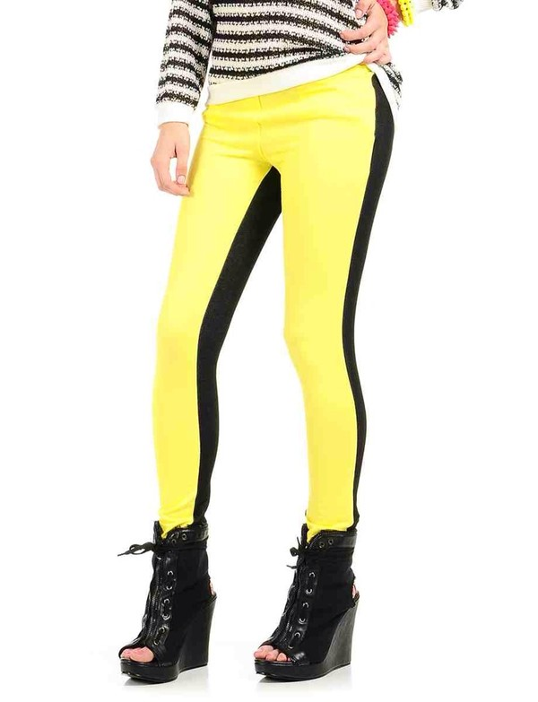 pants yellow multicolor black shoes sweater