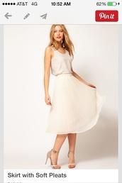 skirt,pleats,knee length skirt,beige skirt,flowy