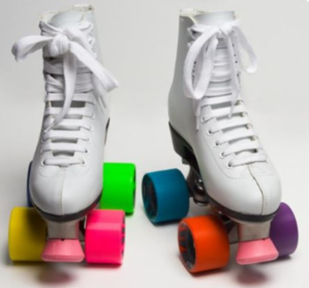 shoes colourful wheels roller skates white