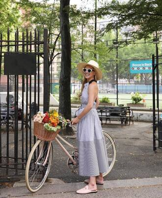 dress hat tumblr blue dress maxi dress long dress mules shoes pink shoes sun hat sunglasses