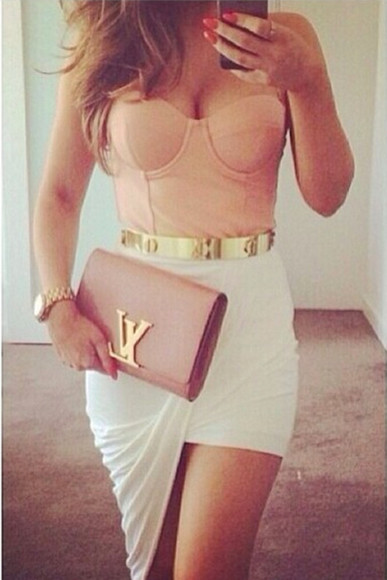 tank top slit skirt pink bustier
