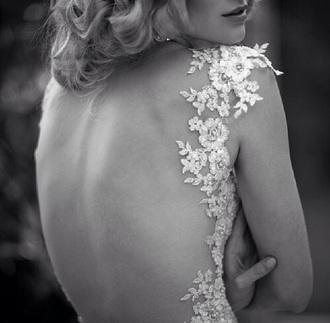 dress cut-out dress cut-out white dress floral wedding dress