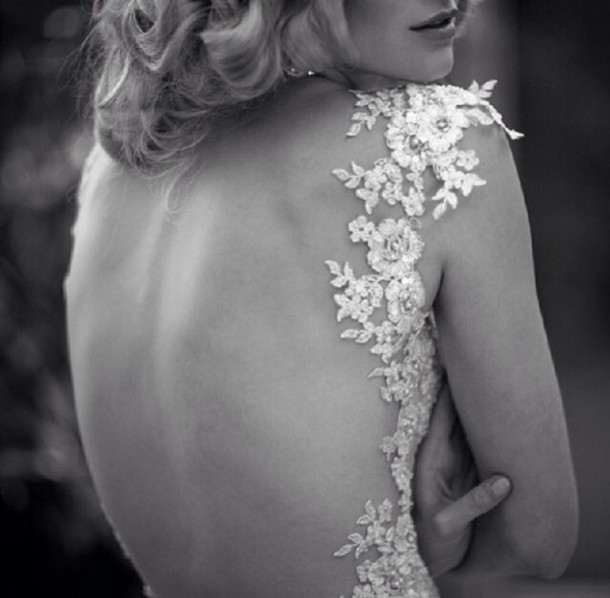 dress cut-out dress cut-out white dress flowers wedding dress