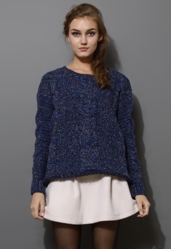sweater candy dots cable knit navy