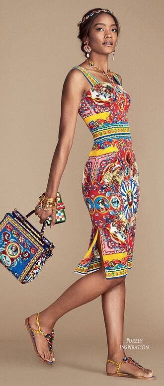 dress printed bodycon embellished flats bejewelled flats printed tote bejewelled necklace tank dress bodycon dress dolce and gabbana printed dress t- strap flats printed bag knee length dress exotic print colorful
