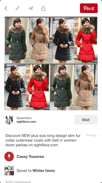 coat parka down long fur waist belt winter coat winter jacket