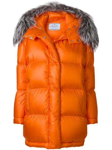 Prada jacket fur fox women yellow orange