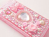 phone cover,pink,pastel,pastel pink,pastel phone case,decoration,decora,decoden,roses,heart,studs,pearl,cute,kawaii,asian fashion,japanese fashion,japanese,iphone case,iphone 5 case,iphone 4 case,girly,princess,hime,lolita,bows,sparkle