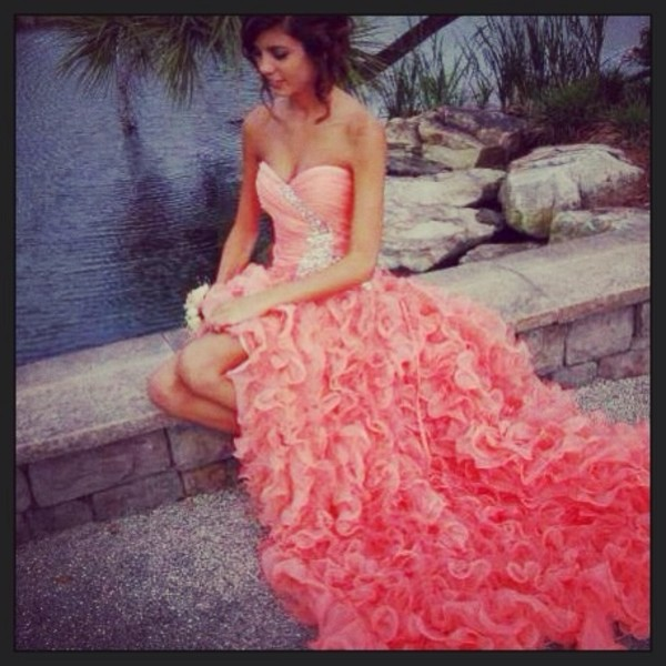 dress prom dress short to long pinkish orangeish ruffle strapless dress jewels sparkle pink hot pink blue
