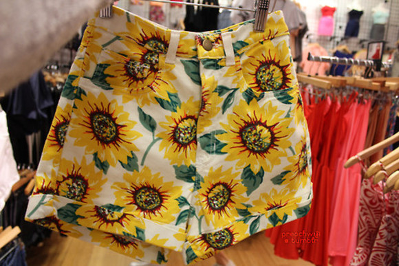 shorts green yellow flowered shorts floral shorts