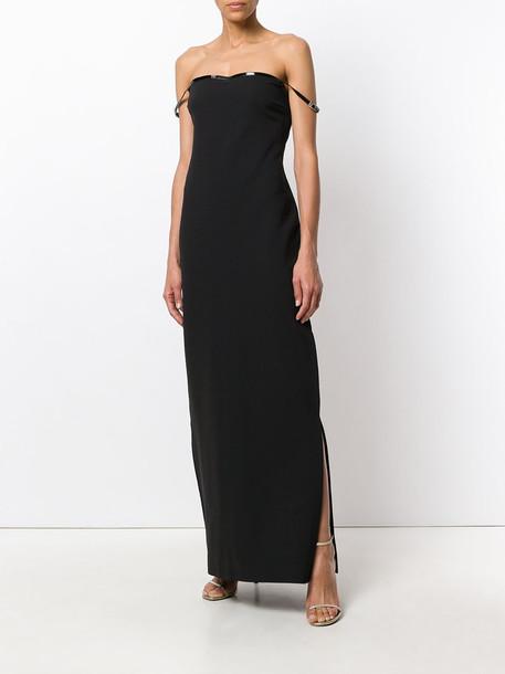 Gucci Vintage gown strapless women spandex black wool dress