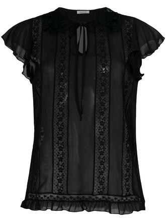 blouse women lace cotton black top