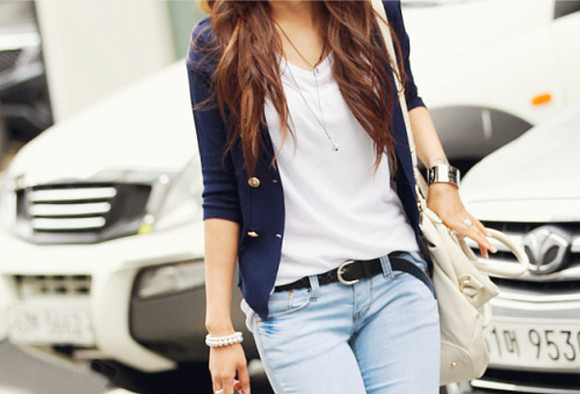 jacket coat veste outfit white t-shirt top