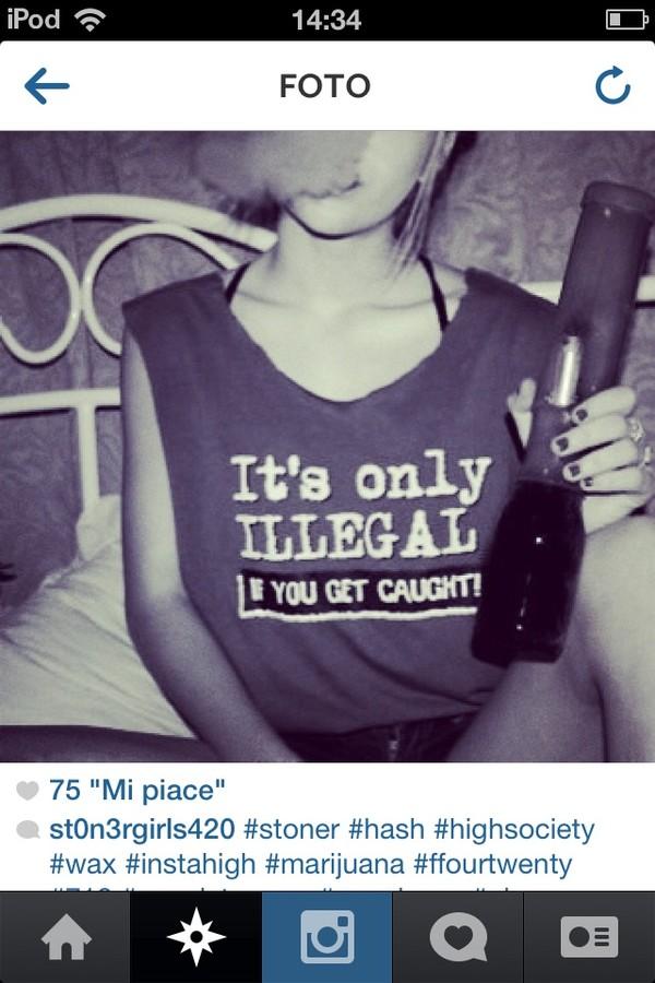 t-shirt shirt illegal weed hipster grunge black