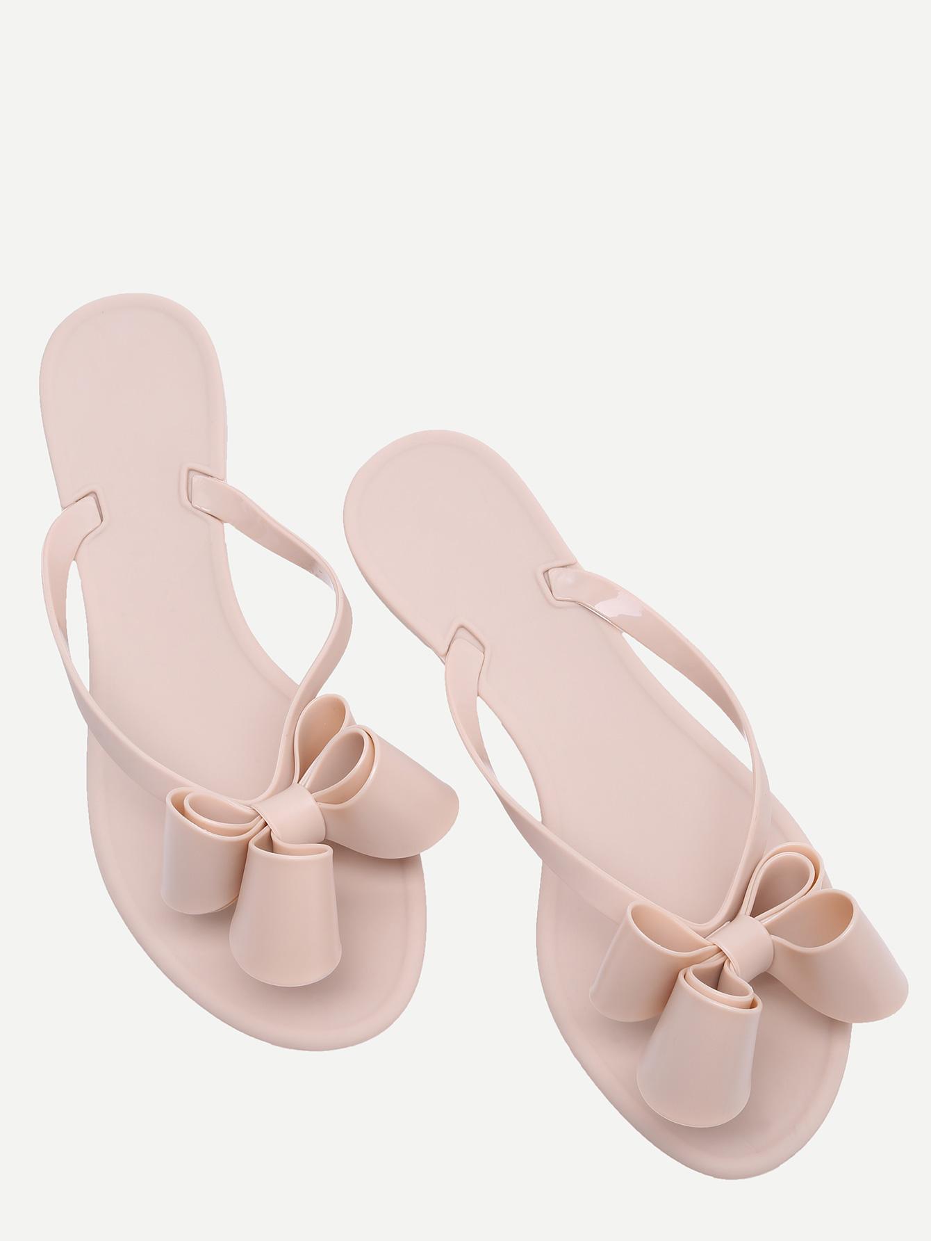 ce409cbd1eb445 Pink Bow Detail Flip Flops -SheIn(Sheinside)