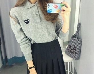 sweater grey sweater jeans style pretty heart