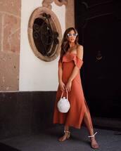 dress,midi dress,off the shoulder dress,orange dress,bag,sunglasses,shoes