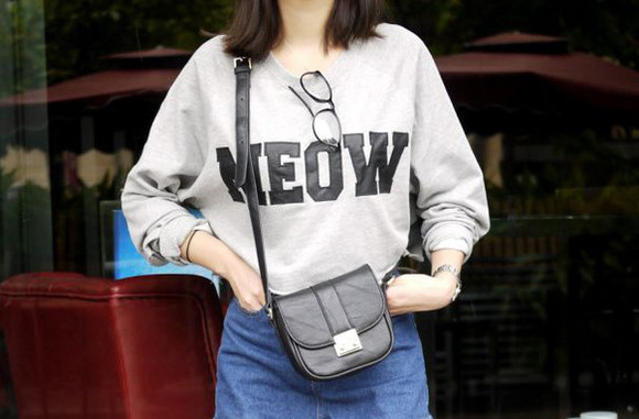 white sweater black and white grey sweater crewneck simple gray sweater black text grunge meow cats