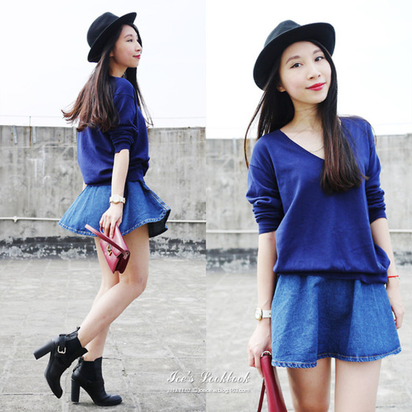 skirt i4out shorts blouse hat clothes clothes fashion look lookbook hair streetstyle trendy style swag dress high heels purse denim skirt blue