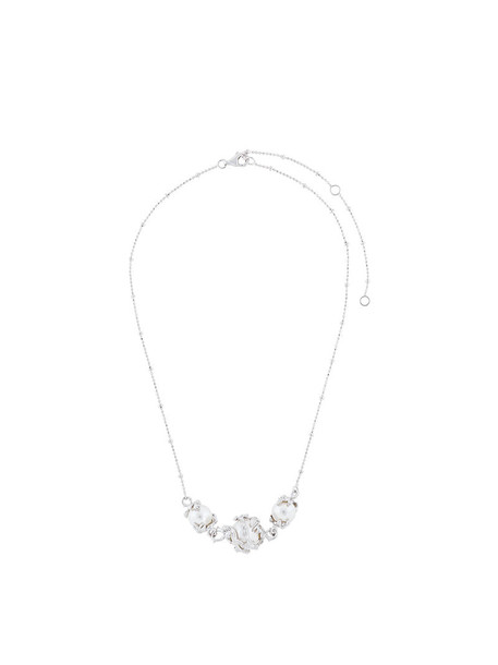 Kasun London women pearl necklace silver grey metallic jewels