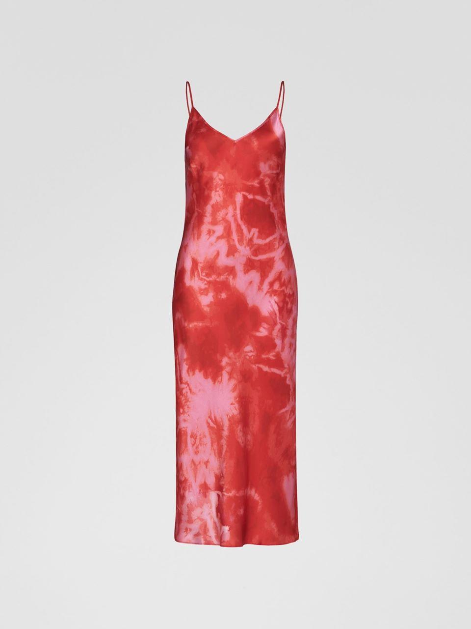 Silk Bias Cut Dress Tie Dye Flame
