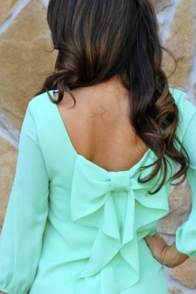 blue shirt bow top cute spring fashions backless chiffon