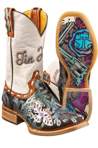 Whip-it Tin Haul Cowboy Boot With Guns And Roses Obvious Sole Boots Urban Western Wear