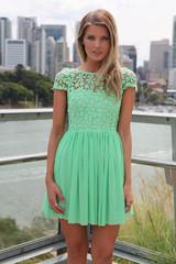 Stitching lace chiffon dress gg716bc