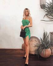 dress,green dress,mini dress,wrap dress,mules,handbag,black bag