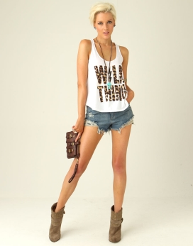Wild thing* printed short length loose fit racer back singlet