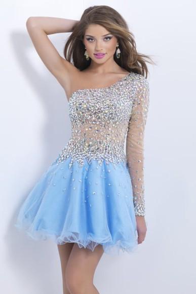 homecoming dress organza dress crystal dress one shoulder dresses 2014 blue dress dress to party
