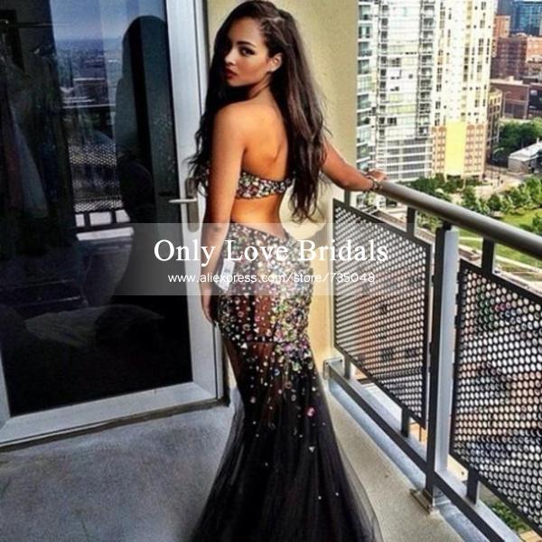 cheap black long prom dress