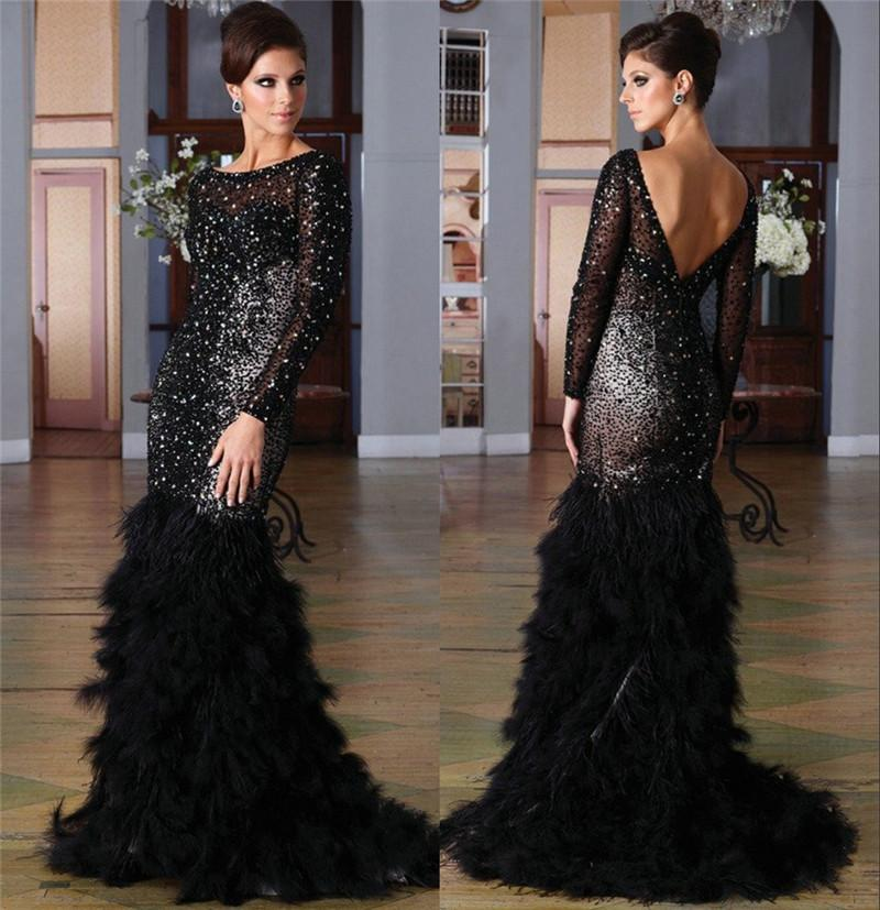 Luxury Gothic Black Feather Celebrity Evening Dresses Long Sleeves ...