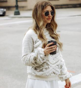 sweater tumblr white sweater knit knitwear knitted sweater coffee round sunglasses sunglasses