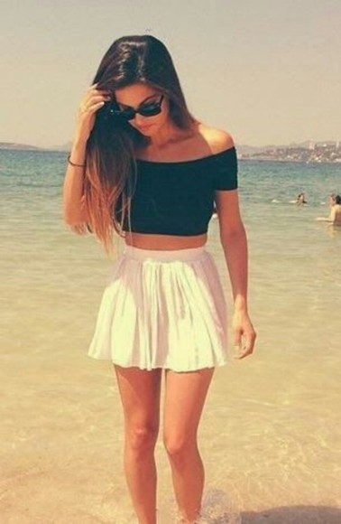 blouse black crop tops off the shoulder top dress