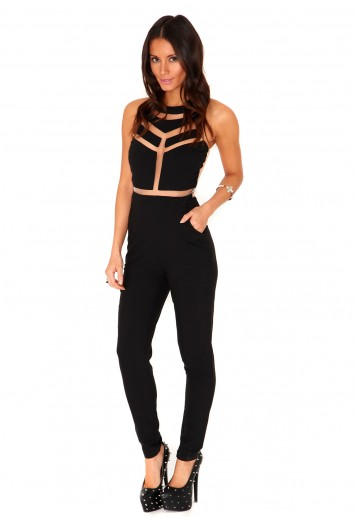 Milenka Mesh Panel Jumpsuit - jumpsuits - missguided