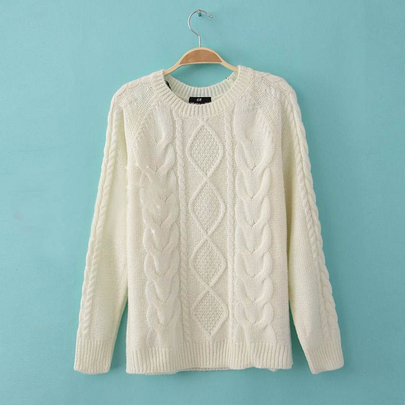 Women Vintage Cable Knit Sweaters Pullover Jumper Retro Outwear ...