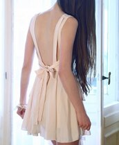 dress,pastel,pink,bows,backless,open back,cute,girly,weheartit,jeans,jewels,tumblr,tumblr dress,cream dress,nude dress,cute dress,low back dress,bow,open back dresses,short dress,mini dress,beige dress,bow dress,beige,mini,short,nude