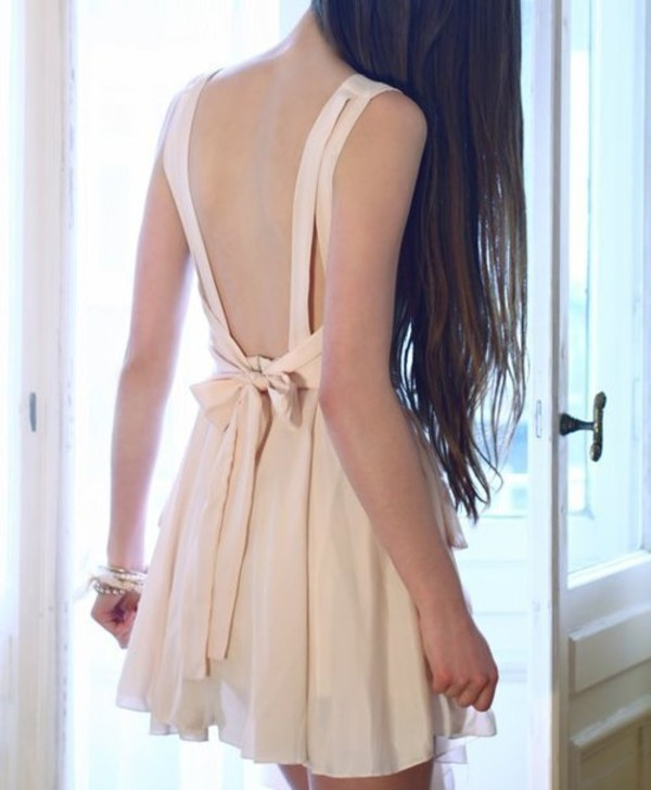dress pastel pink bows backless open back cute girly weheartit jeans jewels tumblr tumblr dress cream dress nude dress cute dress low back dress bow open back dresses short dress mini dress beige dress bow dress beige mini short nude