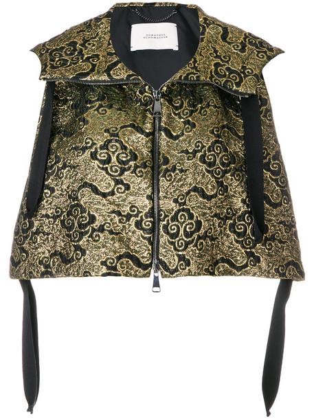 jacket cropped women jacquard cotton grey metallic