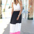 Multi Long Skirt - Pink, Black, and White Paneled | UsTrendy
