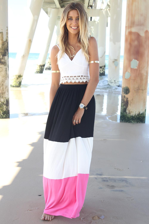 Multi Long Skirt - Pink, Black, and White Paneled | UsTrendy