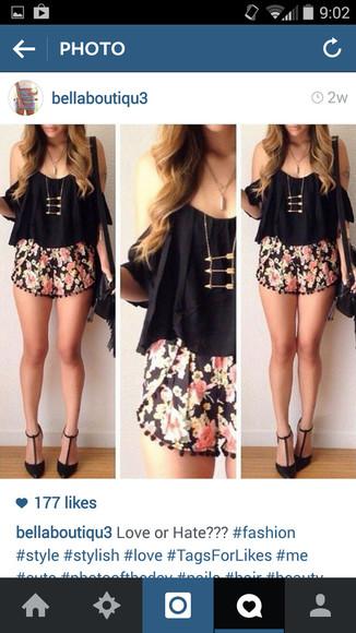 floral shorts blouse jewels